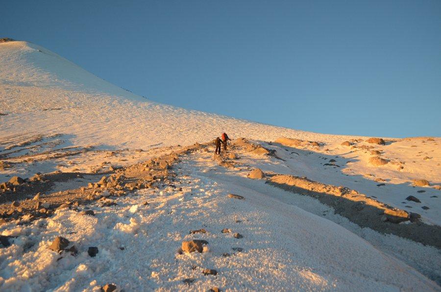 Ascendiendo por el Glaciar Jamapa del Pico de Orizaba.